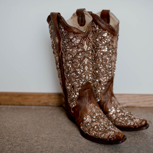 Brown Glitter Inlay Floral Embroidered and Studs Boot by Corral A3671