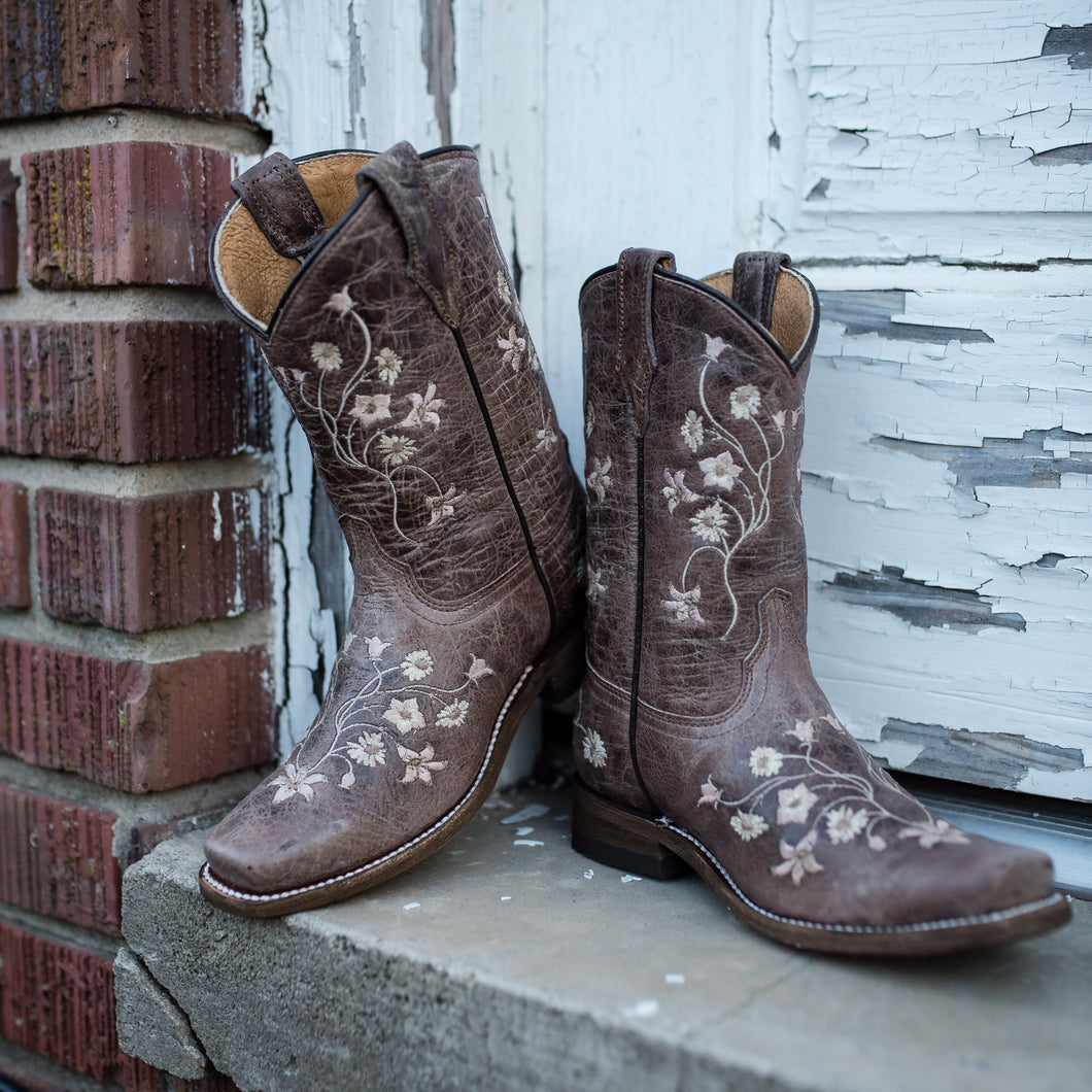 Corral Child Pink Floral Embroider Boot - E1267