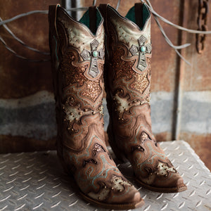 Women's Corral Tobacco, Glitter Inlay Boot - C3595