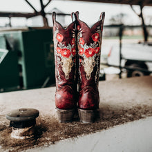 Women's Corral Red Deer Skull and Floral Boot - 3712