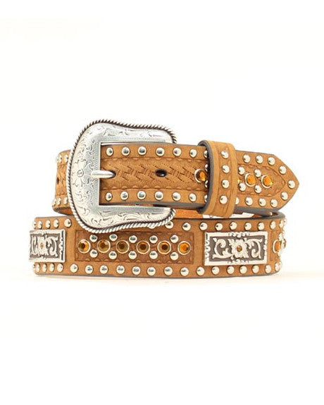 Nocona Amber Crystal Distressed Belt