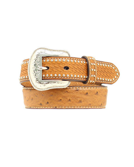 Nocona Kids Ostrich Print and Basketweave Belt