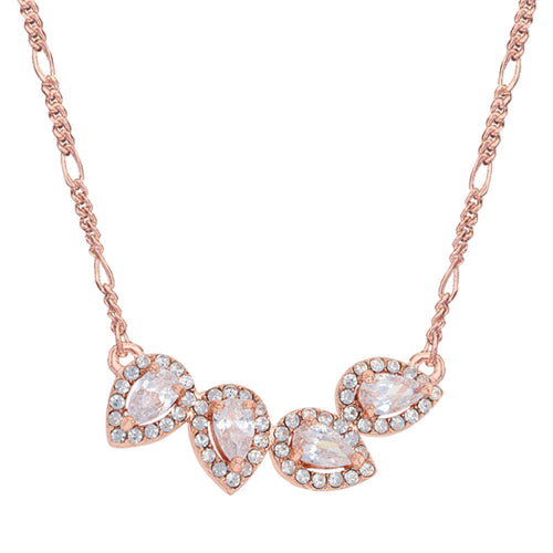 Montanna: Rose Gold Teardrop Bar Necklace