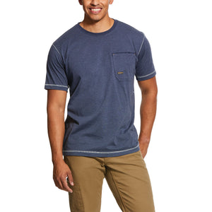 Slate Heather Ariat Rebar Short Sleeve Crew T-Shirt Navy