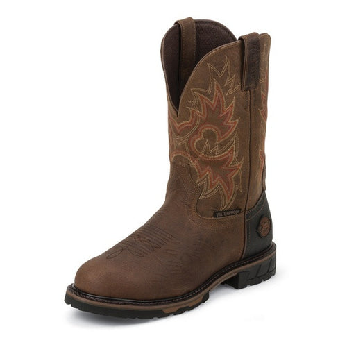 Justin Men's Rustic Barnwood HybredТЎ Waterproof Work Boots -WK4940