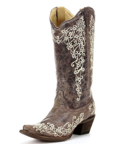 Women's Corral Brown Crater Bone Embroidery Boot - A1094