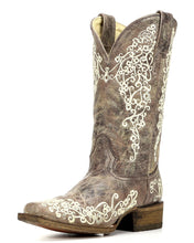 Women's Corral Brown Crater Embroidered Boot - A2663