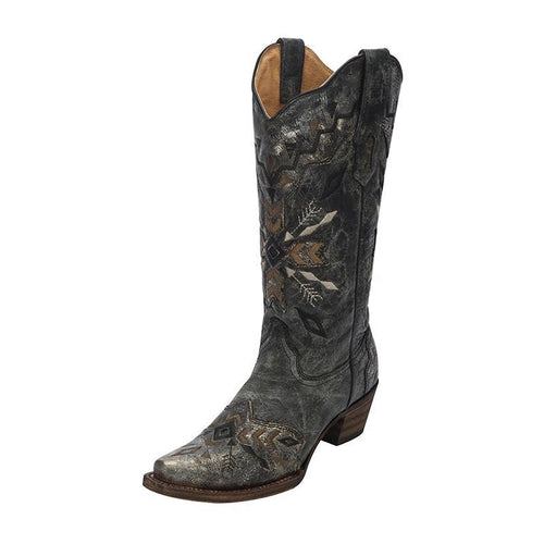 Women's Corral Aztec Black-Gold Embroidery Western Boot | A3046