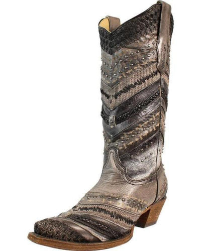Women's Corral Gray Embroidery and Stud Boots - A3355