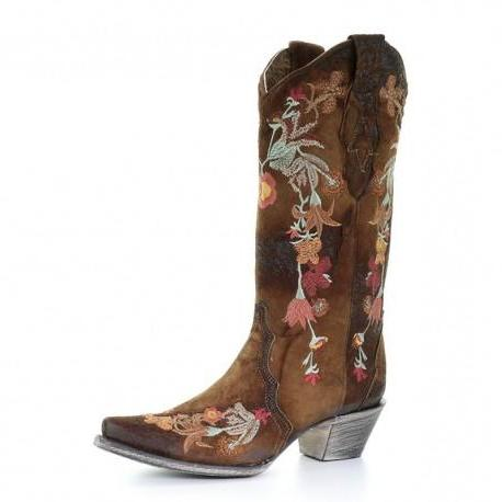 Women's Corral Chocolate Lamb Embroidery Boot: The Lindsey - 3597