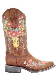 Tan Deer Skull Boot