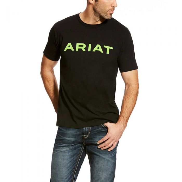 Men's Ariat Branded T-Shirt Black/Lime
