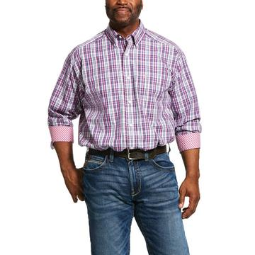Ariat Mens Wrinkle Free Illington Classic Fit Shirt Pink Plaid