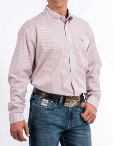 Cinch Men's Lilac Geo Print Button Down Shirt