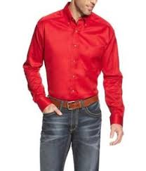 Men's Red Solid Twill Shirt - 10018118