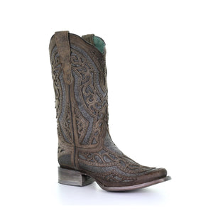 Corral Ladies Brown/ Grey Inlay & Embroidery & Studs Boots E1512