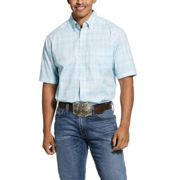 Ariat Men's Pro Series Neptune Blue Short Sleeve Button Shirt