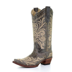 Women's Circle G Distressed Embroidered Scroll Boots - L5407