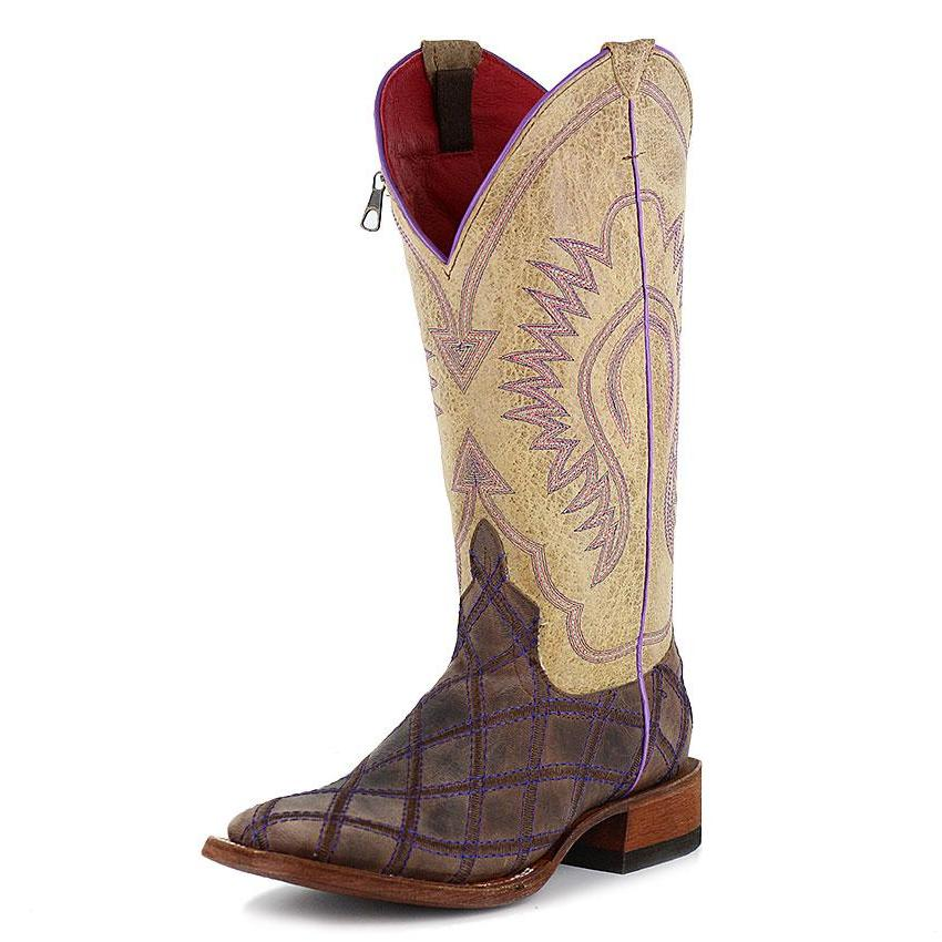 Macie Bean Purple Patchwork Square Toe Boots - M9095