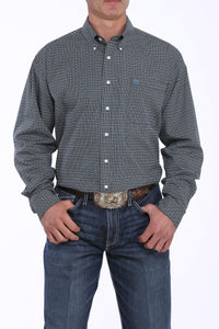 Men's Cinch Black and Teal Button Down Shirt