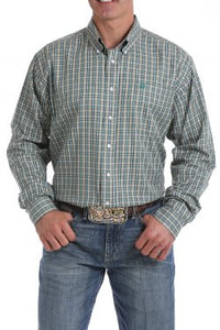Men's Cinch Tencel Khaki Plaid Button Down