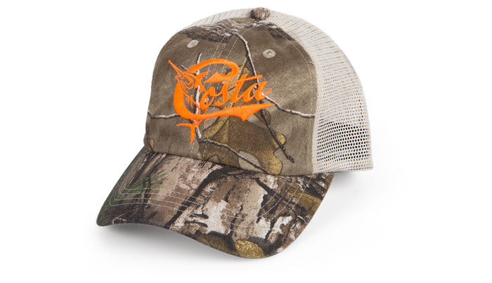 Costa Retro Trucker Camo/Orange Hat
