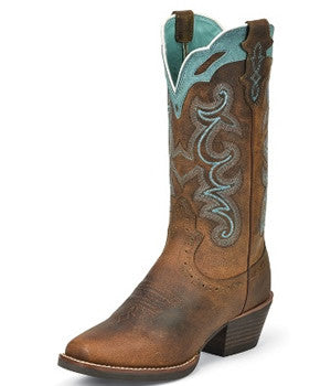 Women's Justin Boots Silver Collection Rugged Tan Buffalo - SVL7311