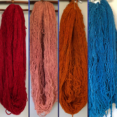 Hand dyed Hand spun Churro yarn from Mexico