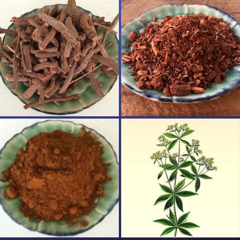 Madder root whole. madder root ground, madder extract