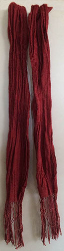 Handmade by Linda Scarf - Silk & Wool Crepe Crinkle Scarf Hand dyed with Cochineal & Madder Red