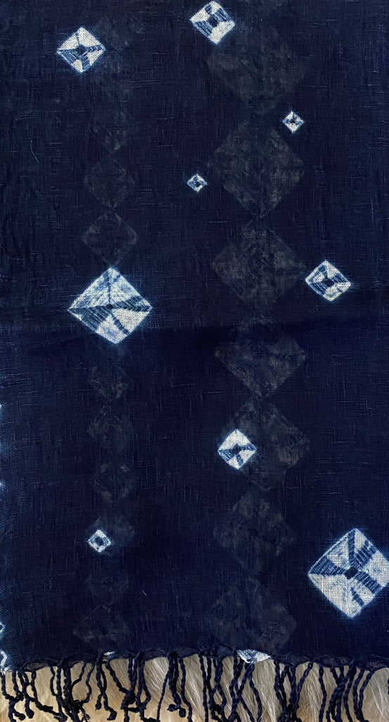 Aranya Natural Linen Scarf Shibori Diamonds Indigo