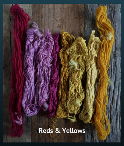 Naturally dyed mini skeins for embellishment