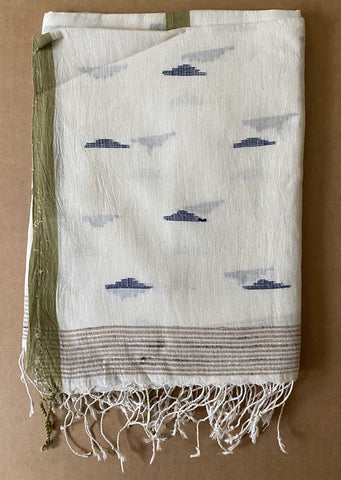 Aasmani by Arundhati - Handwoven Cotton Scarves Aasmani-white-1w