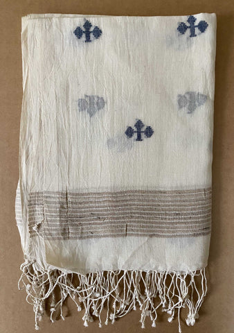 Aasmani by Arundhati - Handwoven Cotton Scarves white-2w