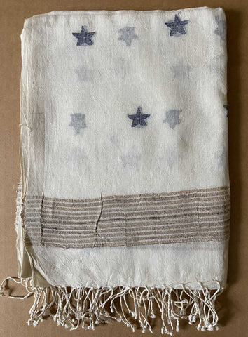 Aasmani by Arundhati - Handwoven Cotton Scarves white-3w