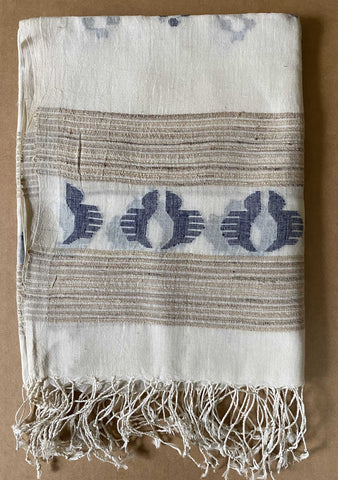 Aasmani by Arundhati - Handwoven Cotton Scarves white-4w
