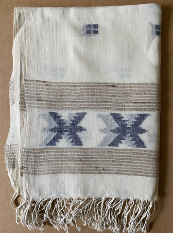 Aasmani by Arundhati - Handwoven Cotton Scarves white-5w