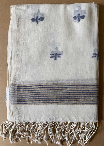 Aasmani by Arundhati - Handwoven Cotton Scarves white-6w