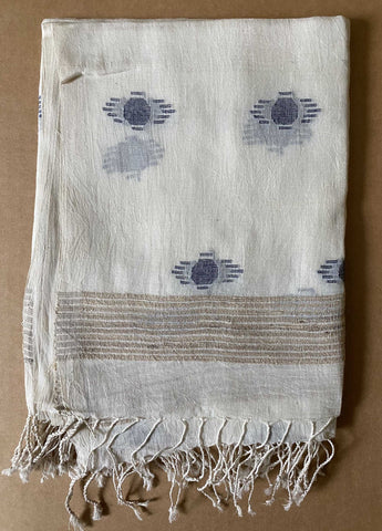 Aasmani by Arundhati - Handwoven Cotton Scarves white-7w