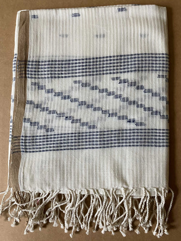 Aasmani by Arundhati - Handwoven Cotton Scarves white-9w