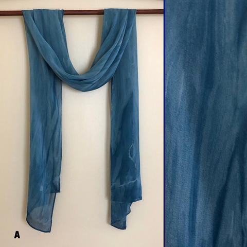Indigo Blues - Silk Chiffon Scarves - Arashi Shibori | The Yarn Tree - fiber, yarn and natural dyes