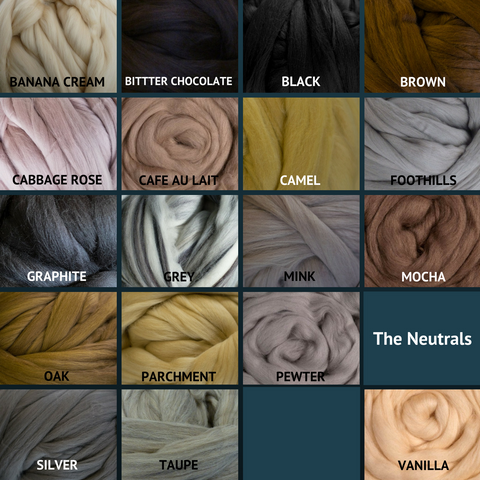 Merino Wool Roving for Felting and Spinning - The Neutrals
