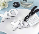 """Hugs & Kisses from Mr. & Mrs."" Chrome XO Bottle Opener"