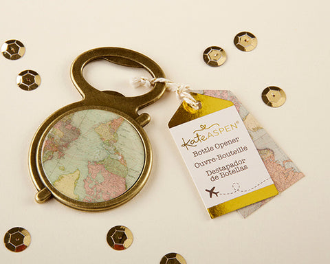ANTIQUE GOLD GLOBE BOTTLE OPENER