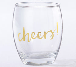 Gold Cheers 12 oz. Stemless Win e Glass (Set of 4)