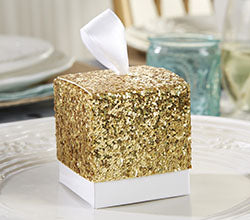 """All That Glitters"" Gold Glitter Favor Box (Set of 24)"