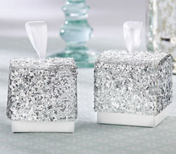 """Sparkle and Shine"" Silver Glitter Favor Box (Set of 24)"