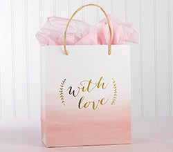 With Love Pink Watercolor Gift Bag (Set of 12)