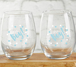 It's a Boy 15 oz. Stemless Wine Glass (Set of 4)