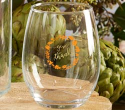 Give Thanks 15 oz. Stemless Glass (Set of 4)